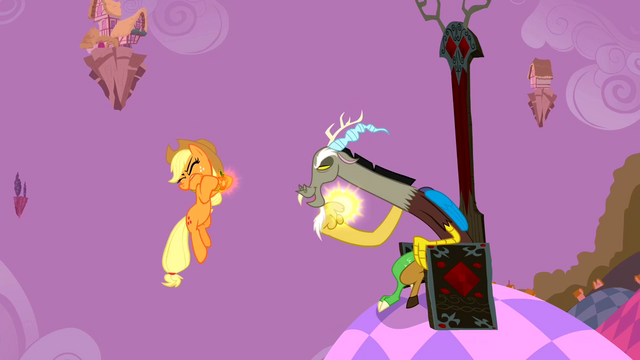 File:Applejack being levitated by Discord S2E02.png
