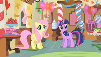 Fluttershy and Twilight in Sugarcube Corner S1E22