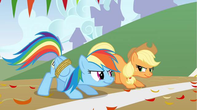 File:Rainbow Dash and Applejack are ready to race S1E13.png