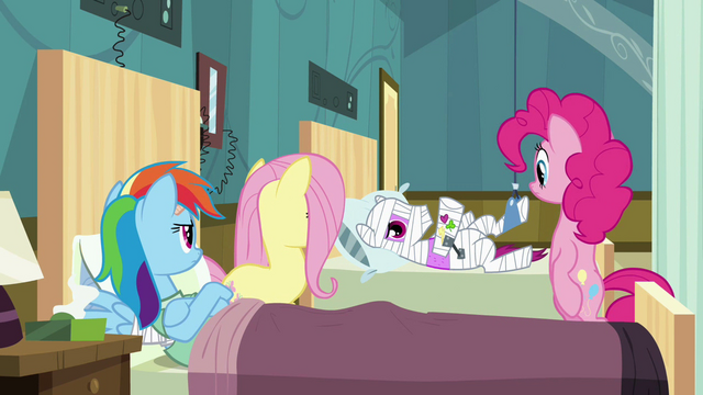 File:Ponies looking at Rainbow's roommate S2E16.png