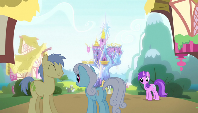 File:Ponies outside the Friendship Rainbow Kingdom castle S5E1.png