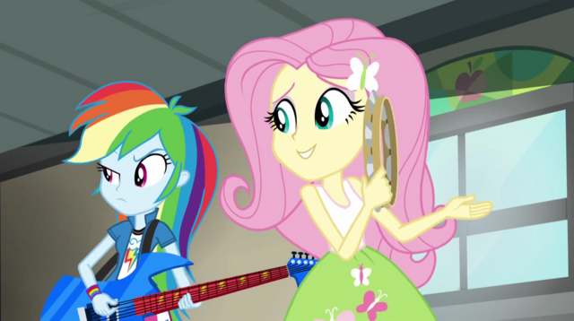 File:Rainbow and Fluttershy listening to Twilight's poor singing EG2.png