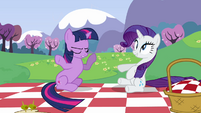 Rarity about to fall on her back S2E25