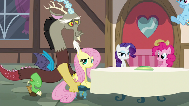 File:Discord pushing Fluttershy's chair S5E22.png
