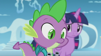 Twilight and Spike looking at the scroll S5E25
