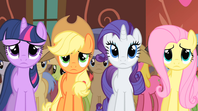 File:Twilight, Applejack, Rarity and Fluttershy see Appleloosa flag S01E21.png