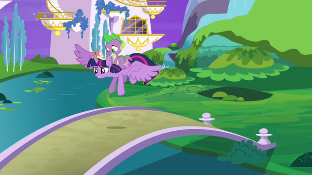 File:Twilight and Spike take off S4E01.png