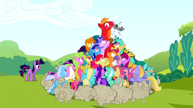 File:Ponies trying to grab Smarty Pants from Big McIntosh S02E03.png