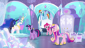 Celestia, Luna, and Cadance bow to Twilight S6E1.png
