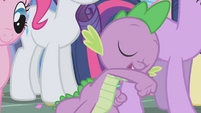 Spike cheering for Applejack S1E04