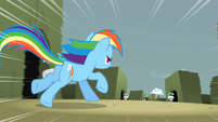 Rainbow Dash chasing after the cloud S2E01