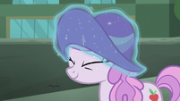 Rarity levitates new hat onto Manehattan mare's head S5E16