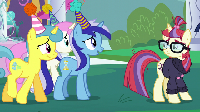 File:Minuette, Twinkleshine, and Lemon Hearts approach Moon Dancer S5E12.png