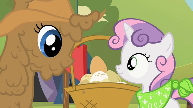 File:Rarity and Sweetie Belle setting the egg down S02E05.png