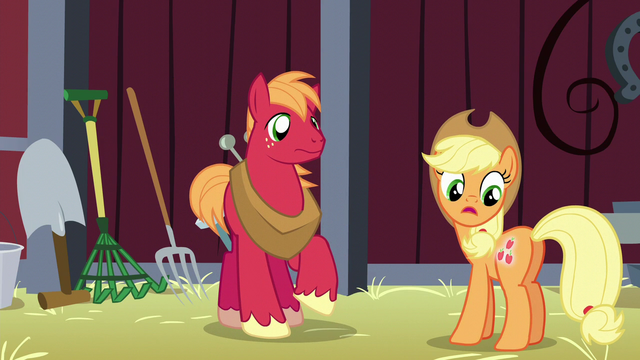 File:Applejack notices her cutie mark glowing S5E17.png