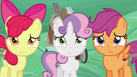 Cutie Mark Crusaders looking worried S6E14