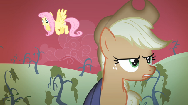 File:Applejack singing while Fluttershy looks down S4E07.png