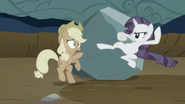 File:Rarity about to kick Applejack S2E02.png