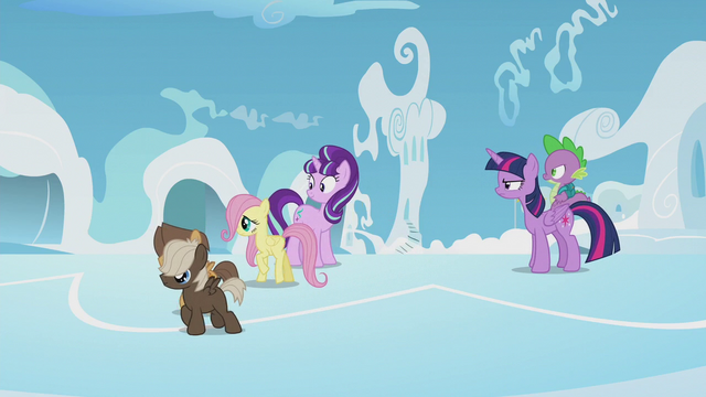 File:Fluttershy, Hoops, and Dumb-Bell walking away S5E25.png