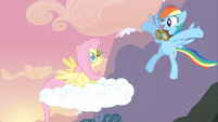 Rainbow Dash congratulating Fluttershy S02E22