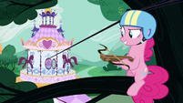 Pinkie on a tree branch holding a crossbow S5E19