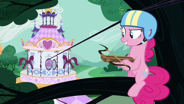 File:Pinkie on a tree branch holding a crossbow S5E19.png