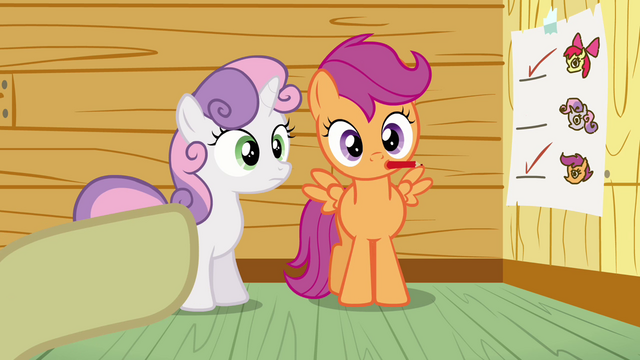File:Scootaloo with a pencil S3E04.png