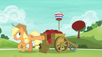 Applejack launches a ball at Pinkie Pie S6E18