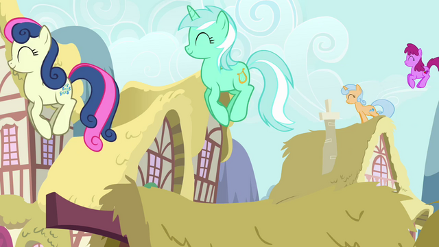 File:The ponies are jumping on rooftops S2E18.png
