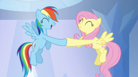 Rainbow Dash and Fluttershy hoof-bump S03E12