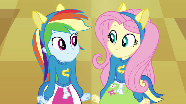 File:Rainbow Dash and Fluttershy looking at each other EG.png