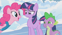 "Pinkie Pie asks Twilight ""But did I make you feel better?"" S1E11"
