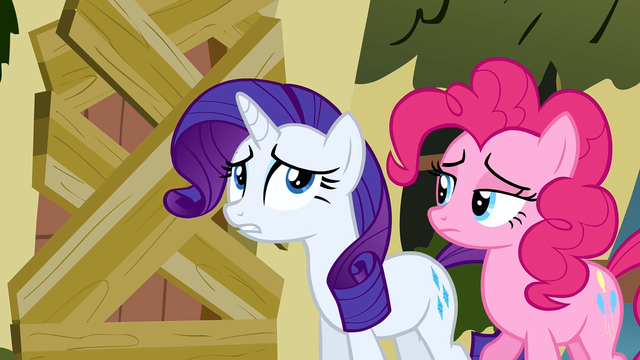 File:Rarity and Pinkie Pie trying to talk to Fluttershy S2E19.png