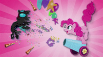 Pinkie blasts changeling with her party cannon BFHHS1