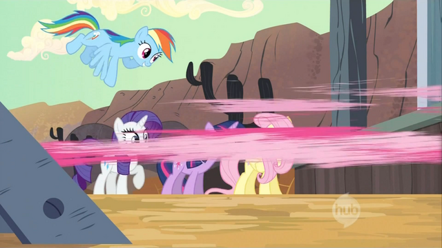 File:Pinkie Pie darting out of the train S2E14.png