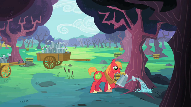 File:Big McIntosh watering a zap apple tree S2E12.png