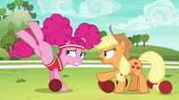 Pinkie bucks balls as Applejack shouts at her S6E18