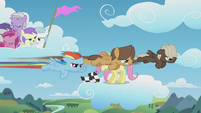 Rainbow Dash and bullies speed past Fluttershy S5E25