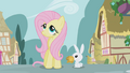 Angel looks at Fluttershy while holding the tickets S1E03.png
