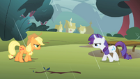 Applejack and Rarity retreating S1E08
