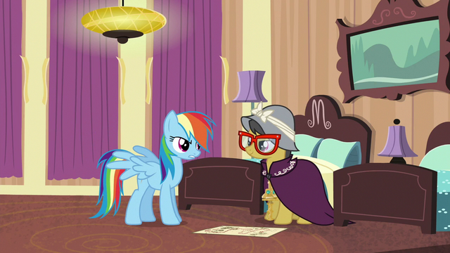 "File:Rainbow Dash ""what are you doing here?"" S6E13.png"