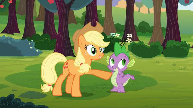 File:Applejack commends Spike S03E09.png