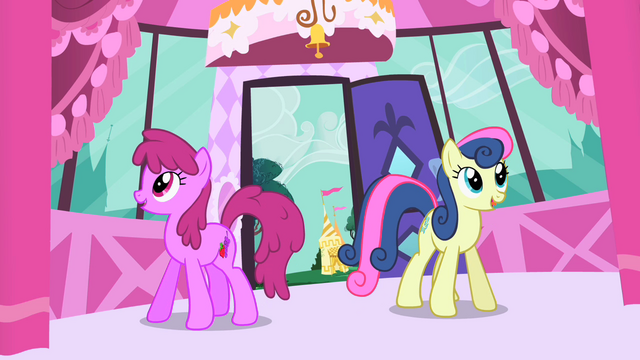 File:Sweetie Drops and Berryshine enter Rarity's boutique S1E20.png