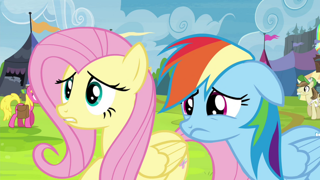 File:Fluttershy and Rainbow Dash worried S4E22.png