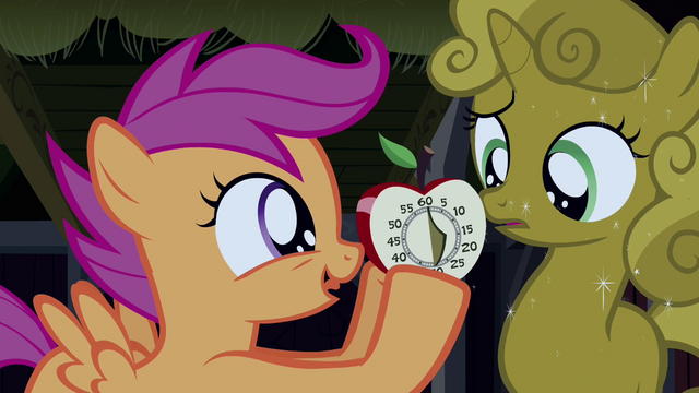 File:Scootaloo showing the kitchen timer to Sweetie Belle S3E04.png