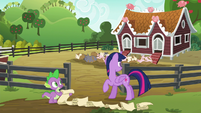 Twilight and Spike look at the pigs S6E10