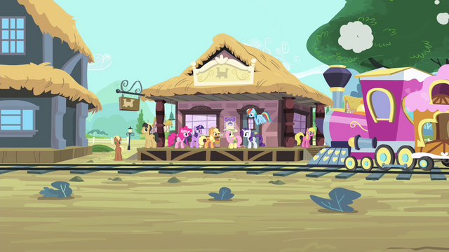 File:Mane 6 at the trainstation S4E11.png