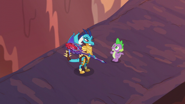 "File:Spike ""just doing this to protect the ponies"" S6E5.png"