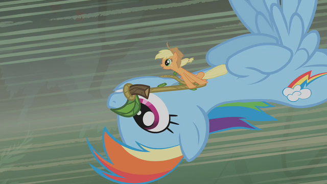 File:Applejack and Rainbow flying toward Zecora's hut S1E09.png