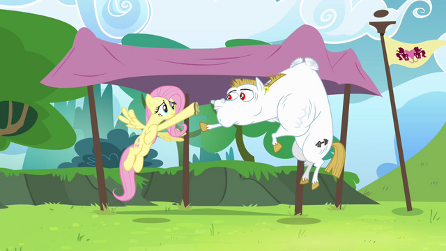 File:Fluttershy and Bulk practicing baton pass S4E10.png